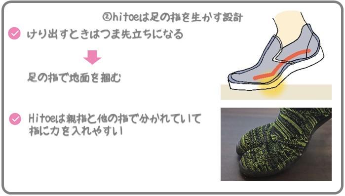 足袋型トレーニングシューズhitoeは足の指を生かす