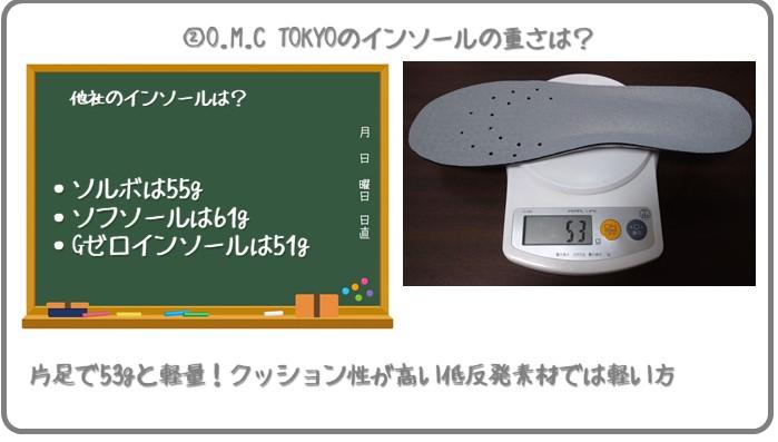 O.M.C TOKYOのインソールの重さは53g
