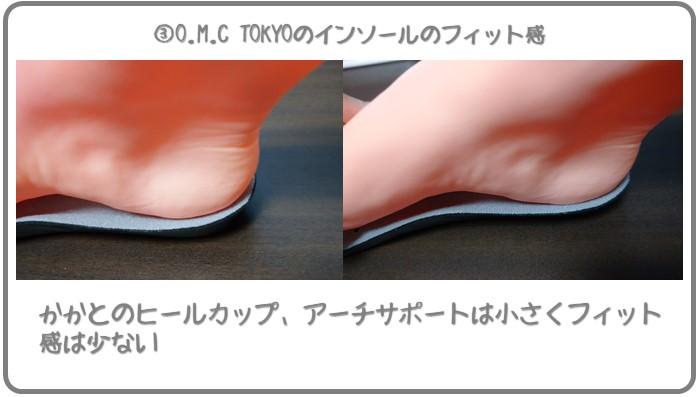 O.M.C TOKYOのインソールのフィット感はそこそこ